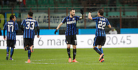 Calcio, Coppa Italia: semifinale di ritorno Inter vs Juventus. Milano, stadio San Siro, 2 marzo 2016. <br /> FC Inter's Marcelo Brozovic, second from right, celebrates with teammate Adem Ljajic, right, after scoring during the Italian Cup second leg semifinal football match between Inter and Juventus at Milan's San Siro stadium, 2 March 2016.<br /> UPDATE IMAGES PRESS/Isabella Bonotto