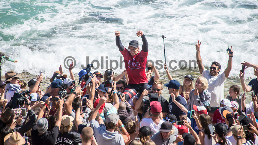 MARGARET RIVER, Western Australia/AUS (Sunday, April 9, 2017) John John Florence (HAW) - The final day of competition at the Drug Aware Margaret River Pro, Stop No. 2 of the World Surf League (WSL) Championship Tour (CT), commenced with the men&rsquo;s Quarterfinals, Semifinals and Final called ON for a 7:05 a.m. start. The remaining competitors battled it out in clean six-to-eight foot plus (2 - 2.5 metre) waves at Main Break.<br /> With John John Florence already through to the final a shark scare put the contest on hold during the second semi final between Filipe Toledo (BRA) and Kolohe Andino (USA).<br />  <br /> Photo: joliphotos.com