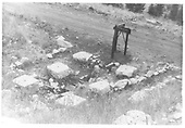 Support stones for DSP&amp;P Woodstock water tank destroyed by snowslide on March 10, 1884.<br /> DSP&amp;P  Woodstock, CO  ca 1972