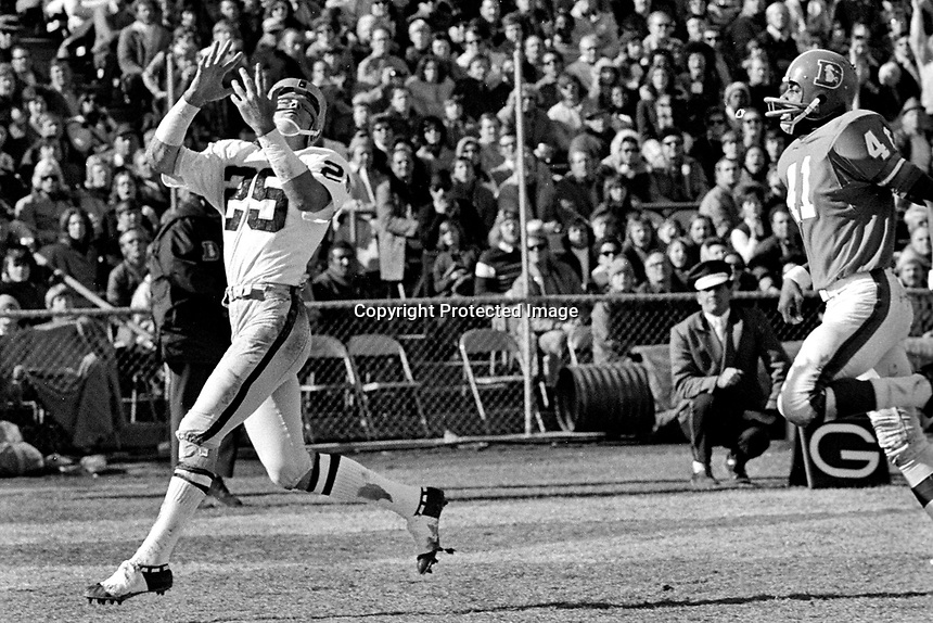Raiders Fred Biletnikoff gathers in TD pass in front of Denver Bronco Leroy Mitchell..(1972 photo/Ron Riesterer)