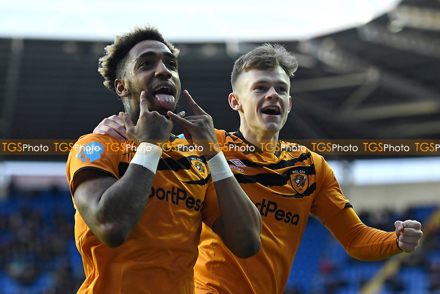 Malik Wilks of Hull City left celebrates his goal with Keane Lewis-Potter of Hull City during Reading vs Hull City, Sky Bet EFL Championship Football at the Madejski Stadium on 8th February 2020