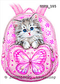 Kayomi, CUTE ANIMALS, paintings, BackpackKitty_M, USKH185,#AC# stickers illustrations, pinturas ,everyday