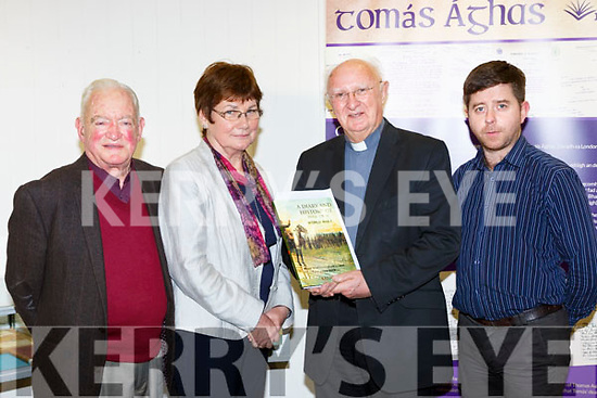 Fr Gerard Casey who gave a talk on Priests in World War 1 for the Killarney Archletoral and Historical Society in Killarney Wednesday evening l-r: Michael Leane, Peggy O'Shea, Fr Gerard Casey and Eamon Killarney Library