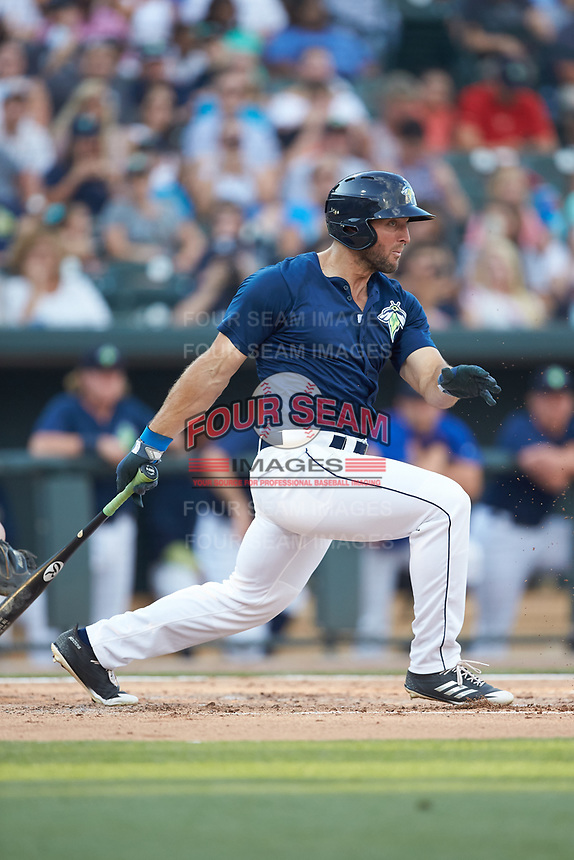 Tim Tebow (15) of the Columbia Fireflies follows through on his swing against the Charleston RiverDogs at Spirit Communications Park on June 9, 2017 in Columbia, South Carolina.  The Fireflies defeated the RiverDogs 3-1.  (Brian Westerholt/Four Seam Images)