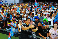 NZ's Caleb Clarke with fans on day two of the 2018 HSBC World Sevens Series Hamilton at FMG Stadium in Hamilton, New Zealand on Saturday, 3 February 2018. Photo: Dave Lintott / lintottphoto.co.nz