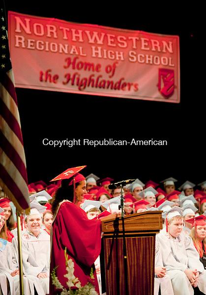 TORRINGTON, CT-061814JS10--Northwestern Regional High School Valedictorian Courtney Carrazzo gives her address during graduation ceremonies Wednesday at the Warner Theatre in Torrington. <br /> Jim Shannon Republican-American