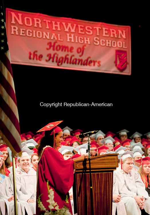 TORRINGTON, CT-061814JS10--Northwestern Regional High School Valedictorian Courtney Carrazzo gives her address during graduation ceremonies Wednesday at the Warner Theatre in Torrington. <br /> Jim Shannon Republican-American