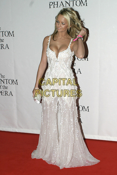"JENNIFER ELLISON.""The Phantom of the Opera"" World Premiere Party,.Grand Hall Olympia, London, December 6th 2004..full length long white beaded jewelled dress funny face.Ref: AH.www.capitalpictures.com.sales@capitalpictures.com.©Capital Pictures."