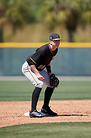 Pittsburgh Pirates Robbie Glendinning (86) during a minor league Spring Training game against the Atlanta Braves on March 13, 2018 at Pirate City in Bradenton, Florida.  (Mike Janes/Four Seam Images)