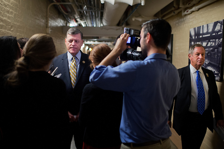 UNITED STATES - OCTOBER 27: Rep. Tom Cole, R-Okla., talks with reporters after a meeting of the House Republican Conference in the Capitol, October 27, 2015. Rep. Joe Wilson, R-S.C., appears at right.(Photo By Tom Williams/CQ Roll Call)