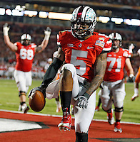 Ohio State Buckeyes quarterback Braxton Miller (5) celebrates his touchdown run in the 2nd quarter of their game against Clemson Tigers in the Discover Orange Bowl at Sun Life Stadium in Miami Gardens, Florida on January 3, 2014.(Dispatch photo by Kyle Robertson)