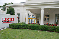 The White House West Wing in Washington, DC is undergoing renovations while United States President Donald J. Trump is vacationing in Bedminster, New Jersey on Friday, August 11, 2017.  This is the scene outside the West Wing.<br /> Credit: Ron Sachs / CNP /MediaPunch