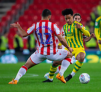 4th November 2019; Bet365 Stadium, Stoke, Staffordshire, England; English Championship Football, Stoke City versus West Bromwich Albion; Matheus Pereira of West Bromwich Albion under pressure from Cameron Carter-Vickers of Stoke City - Strictly Editorial Use Only. No use with unauthorized audio, video, data, fixture lists, club/league logos or 'live' services. Online in-match use limited to 120 images, no video emulation. No use in betting, games or single club/league/player publications