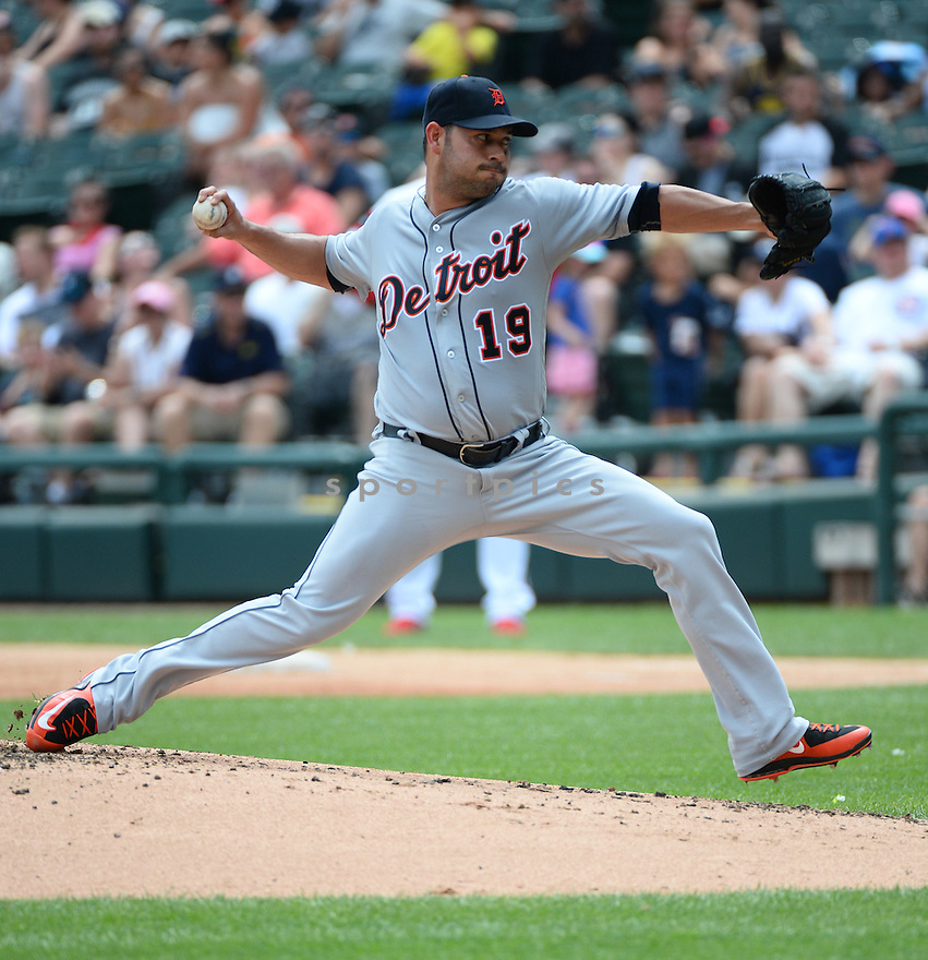Detroit Tigers Anibal Sanchez (19) during a game against the Chicago White Sox on July 24, 2016 at US Cellular Field in Chicago, IL. The White Sox beat the Tigers 5-4.