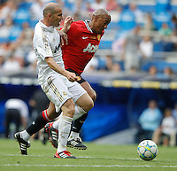 03.06.2012 SPAIN -  Corazon Classic Match 3rd Match played between Real Madrid CF vs Manchester United (3-2) at Santiago Bernabeu stadium. The picture show Zidane