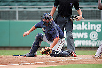 Minnesota Twins catcher Mitchell Kranson (9) sweeps the tag as Josh Ockimey (right) scores a run during an Instructional League game against the Boston Red Sox on September 23, 2016 at JetBlue Park at Fenway South in Fort Myers, Florida.  (Mike Janes/Four Seam Images)