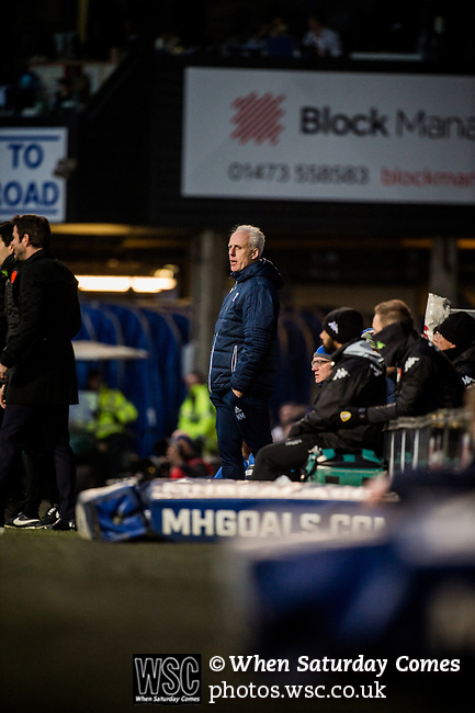 Ipswich Town 1 Leeds United 0, 13/01/2018. Portman Road, Championship. Ipswich manager Mick McCarthy. Photo by Simon Gill.