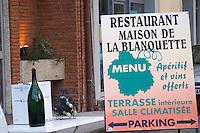 Shop and restaurant La Maison de la Blanquette, the house of Blanquette. Town of Limoux. Limoux. Languedoc. France. Europe.