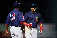 Lowell Spinners third baseman Jonathan Ortega (29) with manager Corey Wimberly (13) during a game against the Vermont Lake Monsters on August 25, 2018 at Edward A. LeLacheur Park in Lowell, Massachusetts.  Vermont defeated Lowell 4-3.  (Mike Janes/Four Seam Images)