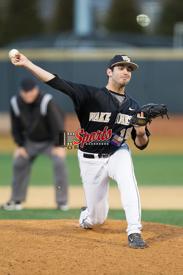 Wake Forest Demon Deacons relief pitcher Aaron Fossas (18) in action against the Missouri Tigers at Wake Forest Baseball Park on February 22, 2014 in Winston-Salem, North Carolina.  The Demon Deacons defeated the Tigers 1-0.  (Brian Westerholt/Sports On Film)