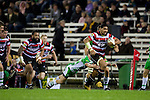Fritz Lee makes another telling break upfield. ITM Cup rugby game between Counties Manukau and Manawatu played at Bayer Growers Stadium on Saturday August 21st 2010..Counties Manukau won 35 - 14 after leading 14 - 7 at halftime.