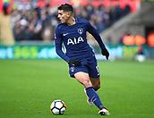 17th March 2018, Liberty Stadium, Swansea, Wales; FA Cup football, quarter-final, Swansea City versus Tottenham Hotspur; Erik Lamela of Tottenham Hotspur looks to cross the ball