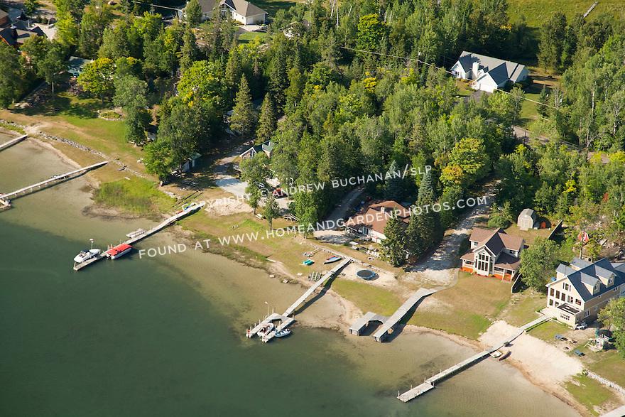 Hill Island shoreline north of the causeway, across form LaSalle, Les Cheneaux area of Lake Huron near Cedarville, MI