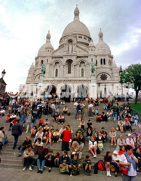 FILE PHOTO - Sacre-Coeur church in the Montnartre district of Paris is shown in this May 1997 file photo. Police evacuated dozens of people the church January 14, 2003 after finding suspect gas canisters, but said the device did not appear to be a functioning bomb.  (Photo by William Thomas Cain/photodx.com)