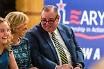 WATERBURY, CT. 18 July 2019-071819 - Waterbury Mayor Neil O'Leary looks over at his wife, during the Waterbury Democratic Town Committee meeting of picking its slate of candidates for this years elections at the Waterbury Portuguese Sport Club in Waterbury on Thursday. Bill Shettle Republican-American