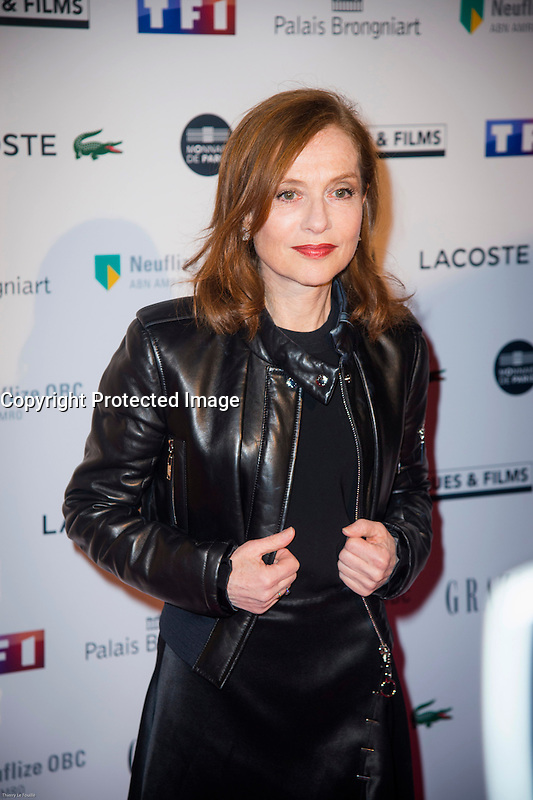 Isabelle Huppert ‡ la soirÈe des TrophÈes du Film FranÁais 2017 au Palais Brongniart ‡ Paris le 2 fÈvrier 2017. # TROPHEES DU FILM FRANCAIS 2017