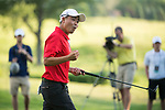 SUGAR GROVE, IL - MAY 29: John Oda of UNLV celebrates after sinking a putt to send his team on to match play during the Division I Men's Golf Individual Championship held at Rich Harvest Farms on May 29, 2017 in Sugar Grove, Illinois. Oda tied for 8th place with a -3 score. (Photo by Jamie Schwaberow/NCAA Photos via Getty Images)