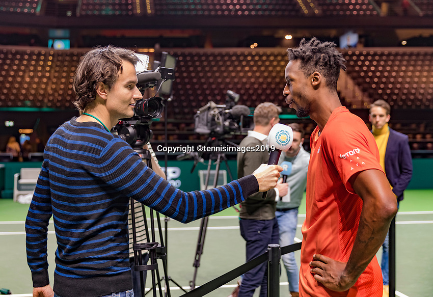 Rotterdam, The Netherlands, 17 Februari 2019, ABNAMRO World Tennis Tournament, Ahoy,   Winner Gael Monfils (FRA) being interviewed by Jan Willem de Lange<br /> <br /> Photo: www.tennisimages.com/Henk Koster