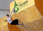 June 5, 2009:  Norway's Therese Johannesen completes her route in the IFSC Bouldering World Cup at the Teva Mountain Games, Vail, Colorado.