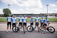 team shot at the Roubaix velodrome<br /> after reconnaissance of the (delayed, due to the Covid19 pandemic) Paris-Roubaix course by Team Israel - StartUp Nation <br /> <br /> Nord-Pas de Calais region (FRA), 17 july 2020<br /> ©kramon