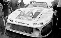 The eventual winning #6 Porsche of A.J. Foyt, Bob Wollek, Claude Ballot-Lena, and Preston Henn sits on pit road during a red flag in the rain during the 1983 24 Hours of Daytona , Daytona Internationa Speedway, Daytona Beach, FL, February 1-2, 1983.  (Photo by Brian Cleary / www.bcpix.com)