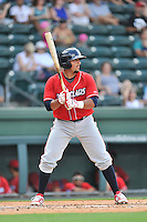 Catcher Edgar Cabral (20) of the Lakewood BlueClaws bats in a game against the Greenville Drive on Sunday, June 26, 2016, at Fluor Field at the West End in Greenville, South Carolina. Greenville won, 2-1. (Tom Priddy/Four Seam Images)