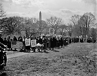 Spanish women march to protest at the State Department. Washington, D.C., April 4, 1938. <br /> <br /> 3,000 Spanish-born women led by the widow of an American killed in Spain's Civil War.<br /> <br /> Photo by Harris & Ewing.