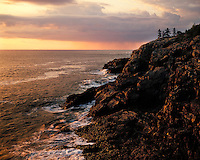 Sunrise light on the Atlantic Ocean viewed at the Schoodic Head Overlook; Acadia  National Park, ME