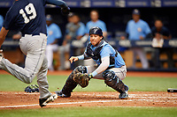 Roberto Alvarez (17) waits to tag Beau Brundage (19) as he runs home during the Tampa Bay Rays Instructional League Intrasquad World Series game on October 3, 2018 at the Tropicana Field in St. Petersburg, Florida.  (Mike Janes/Four Seam Images)