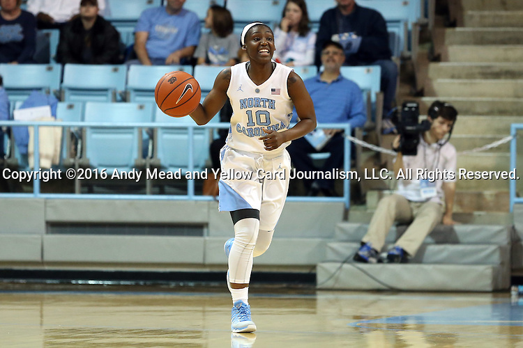 03 January 2016: North Carolina's Jamie Cherry. The University of North Carolina Tar Heels hosted the Clemson University Tigers at Carmichael Arena in Chapel Hill, North Carolina in a 2015-16 NCAA Division I Women's Basketball game. UNC won the game 72-56.