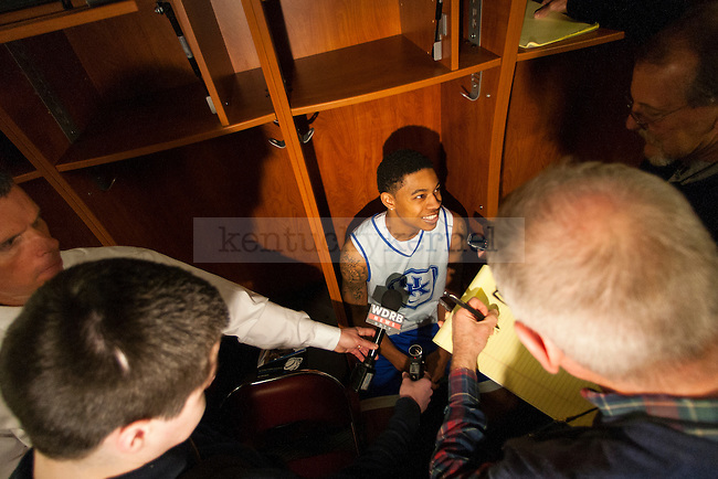 Guard Tyler Ulis of the Kentucky Wildcats answers a question during the pre-game press conference for the game against the Hampton Pirates at KFC Yum! Center on Wednesday, March 18, 2015 in Louisville , Ky. Kentucky, the overall number 1 seed, opens its NCAA tournament Thursday at approx. 9:40 EST. Photo by Michael Reaves | Staff.