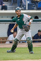 June 22, 2008: The Boise Hawks' Carlos Perez takes a look at first base after hustling to get a wild pitch in the dirt during a Northwest League game against the Everett AquaSox at Everett Memorial Stadium in Everett, Washington.