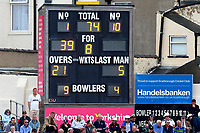 The scoreboard shows that Yorkshire have been reduced to 74 for 8 during Yorkshire CCC vs Essex CCC, Specsavers County Championship Division 1 Cricket at Scarborough CC, North Marine Road on 6th August 2017