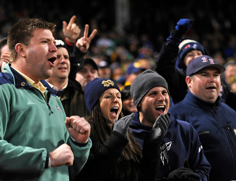 (Boston, MA, 11/21/15) Fans celebrate during the third quarter as Notre Dame hosts Boston College at Fenway Park in Boston on Saturday, November 21, 2015. Photo by Christopher Evans