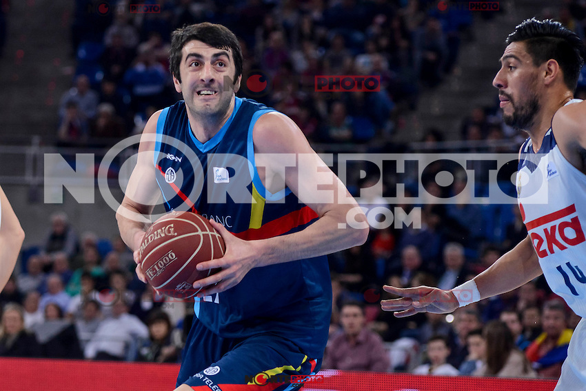 Real Madrid's Gustavo Ayon and Morabanc Andorra's Giorgi Shermadini during Quarter Finals match of 2017 King's Cup at Fernando Buesa Arena in Vitoria, Spain. February 16, 2017. (ALTERPHOTOS/BorjaB.Hojas) /Nortephoto.com