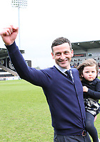 St Mirren Manager Jack Ross with his daughter, celebrates after winning the Scottish Professional Football League Ladbrokes Championship at the Paisley 2021 Stadium, Paisley on 14.4.18.