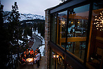 Richard Landry, third from left, relaxes with family and friends on the deck of his self-designed Mammoth Lakes, CA vacation home, January 9, 2010.
