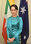 Myanmar's State Counsellor Aung San Suu Kyi is pictured before meetings at Parliament House, Canberra, Monday, March 19, 2018. AFP PHOTO/ MARK GRAHAM