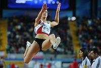 ISTAMBUL, TURQUIA, 10 DE MARCO 2012 - MUNDIAL DE ATLETISMO INDOOR -  Karin Mey Melis atleta da Turquia compete na qualificacao para mulheres no salto em distancia no Campeonato Mundial de Atletismo Indoor na Atakoy Arena, em Istambul na Turquia, neste sabado, 10. (FOTO: CHRISTIAN CHARISIUS / BRAZIL PHOTO PRESS).