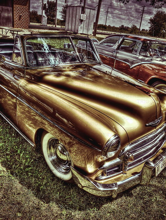 Vintage autos from a car show at the Illinois Railway Museum in HDR